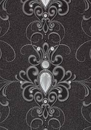 glööckler wallpaper ornaments anthracite gloss 54853