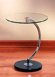Small Accent Table Ls C Shaped Glass Chrome Contemporary Modern Accent Table