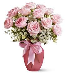 a dozen roses pink dozen roses and lace roses a soft shaded bouquet of