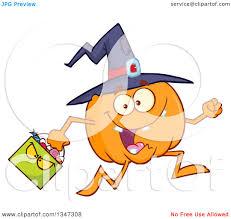 clipart of a cartoon halloween pumpkin character wearing a witch