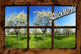 orchard window rustic peel stick wall mural