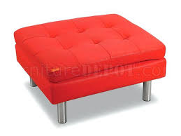 ottoman red faux leather storage ottoman round red leather