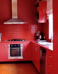 the kitchen in the red color home interior design kitchen and