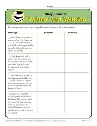 story elements worksheet problem and solution problem and