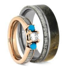 deer antler wedding band deer antler wedding ring set turquoise engagement ring and wood