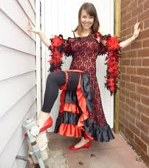 black red lace ruffle spanish mexican seniorita can can costume