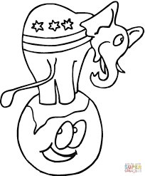 elephant stood on top of planet earth coloring page free