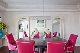transitional dining room with nailhead dining chairs neutrals and