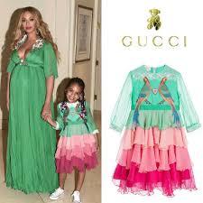 beyoncé u0026 blue ivy u0027s mini me gucci green dress at beauty u0026 the