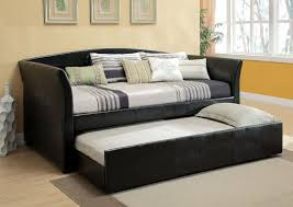 Daybed With Trundle Bed Delmar Black Leather Like