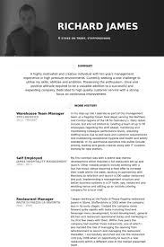 Restaurant Manager Resume Template Warehouse Manager Resume Sles Visualcv Resume Sles Database