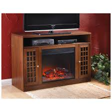 castlecreek mission style media stand fireplace heater dark oak