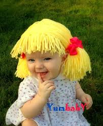 baby hat cabbage patch inspired baby wig yellow yarn wig