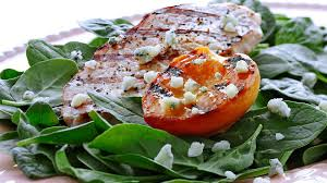 pork chops with grilled peaches and blue cheese eat wisconsin cheese