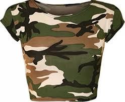 army pattern crop top girls walk women s army camouflage print short stretch vest crop top