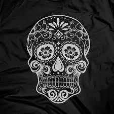 dia de los muertos skull black t shirt nation