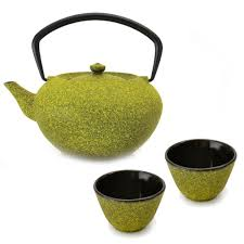 teapot set berghoff studio 4 2 cup yellow cast iron teapot set 2211938 the