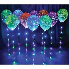 Lighted Balloons Birthday Decoration With Ribbons And Balloons Image Inspiration
