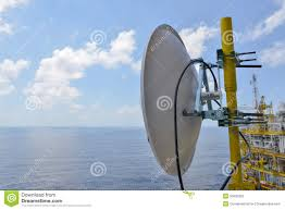 satellite dish antennas under sky communication equipment in