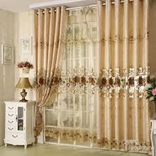 Top Curtains Inspiration Decoration Polyester Cotton Brown And Lace Border Luxury