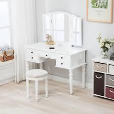 Folding Vanity Table Folding Mirror Vanity White Dressing Table Set Makeup Desk Dresser