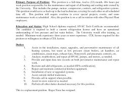 sle hvac resume resume inspiring maintenance objective mechanic manager exles