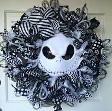 Black Halloween Wreath Nightmare Before Christmas Halloween Wreath Jack Skellington