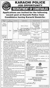 jobs in karachi police 2017 as a constable
