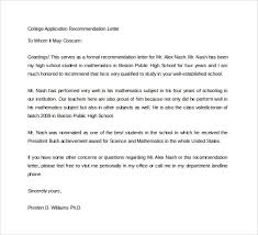 recommendation letter for college letter of recommendation for