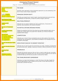 6 executive summary template doc letterhead format