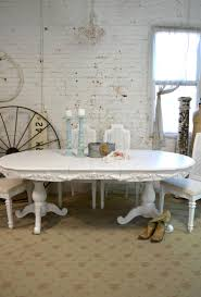 painted cottage chic shabby white french dining table tbl44