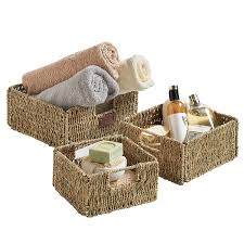amazon com vonhaus set of 3 square seagrass storage baskets with