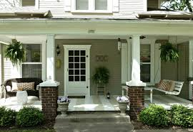 charming contemporary front porch design with half brick outdoor