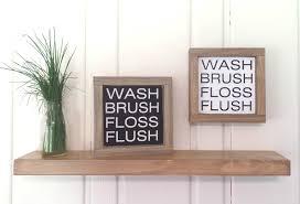 wash brush floss flush wood sign small framed wooden sign