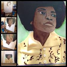 michael jackson food coloring painting on fondant cake by sheila