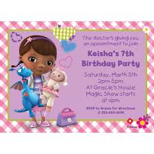 doc mcstuffins personalized invitation birthday custom