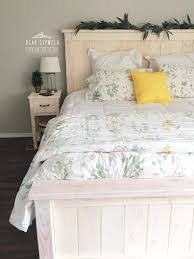 ana white farmhouse bed stained white wood stained bedroom