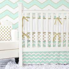 metallic gold mint and chevron crib set nursery trends collide in