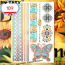 nu taty 24 style temporary gold butterfly designs