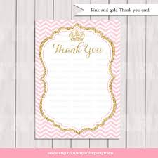printable thank you cards princess pink and gold princess thank you card gold glitter thank you note