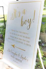 white and gold baby shower it s a boy entrance sign from blue gold baby shower at kara s