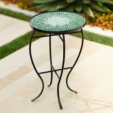 outdoor mosaic accent table amazon com bella green mosaic outdoor accent table home improvement