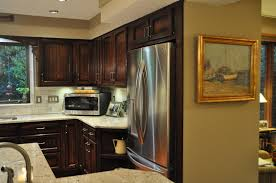 stylish modern kitchen design with oak modular cabinet added gallery photos of stylish custom fridge cabinet applied on modular cabinet for limited space solutions