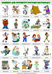 hobbies esl printable worksheets and exercises