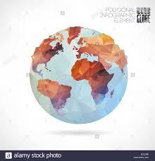 Vector World Map Vector World Globe 3d Triangular Map Of The Earth Modern