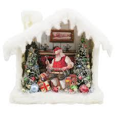 vintage santa house shadowbox with led light santa claus makes