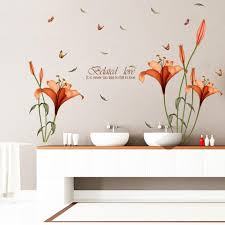 Eiffel Tower Wall Decals Wall Sticker Hatop Red Lily Flower Wall Stickers Removable Decal