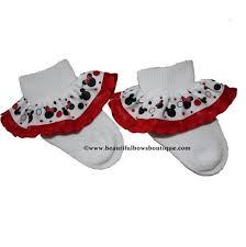 buy red black minnie mouse ribbon ruffle socks