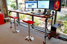 Rolling Table Desk 37 Diy Standing Desks Built With Pipe And Kee Klamp Simplified