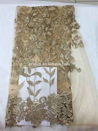 buy xzlac fashionable dress 3d gold leaves french net embroidery